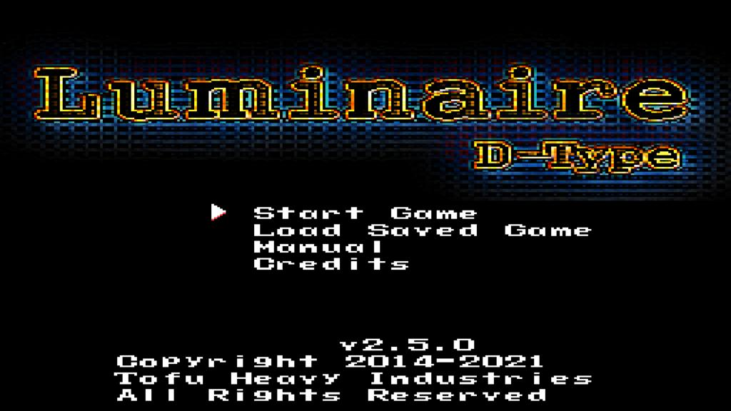 Luminaire 2.5 Title Screen